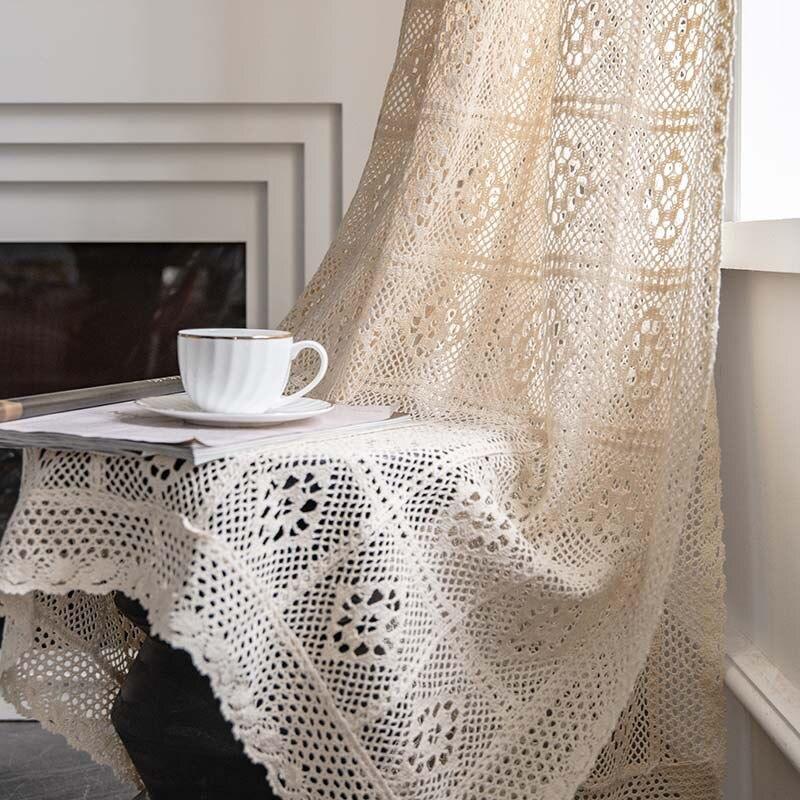 البلد الأمريكي نمط الرجعية جوفاء الدانتيل القطن الكتان شبه التظليل الستار لغرفة النوم غرفة المعيشة نافذة لوحات ستارة مطبخ