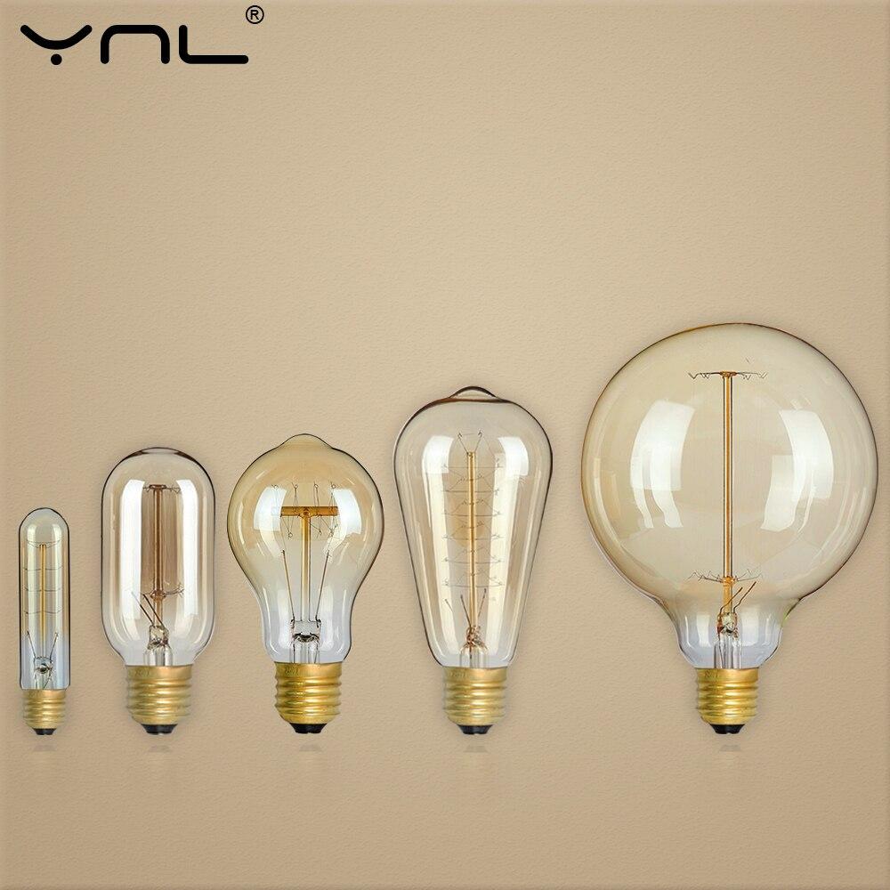 Приглушаемая Ретро лампа Эдисона E27 220 В 110 в 40 Вт лампа накаливания ST64 G80 G95 G125 винтажная декоративная лампа для ресторана и помещений