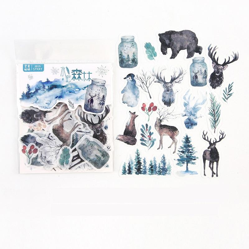 40-pz-pacco-acquerello-foresta-animali-adesivi-adhensive-decorativo-album-diario-conto-mano-decor