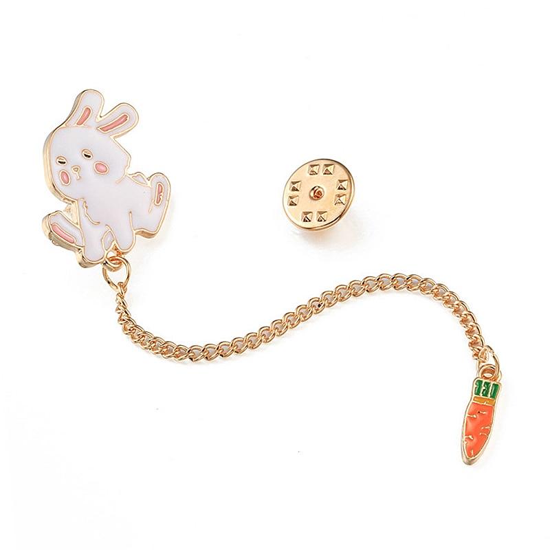 Enamel Lapel Pin Creative Rabbit Carrot Chain Cartoon Brooch for Women Kids Denim Shirt Backpack Metal Button Pins Badge Jewelry