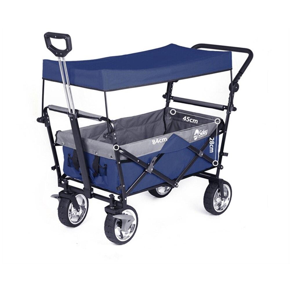 Utility Garden Cart with Tabletop Outdoor Folding Utility Wagon Heavy Duty Folding Wagon Camping Trolley on Wheels Canopy