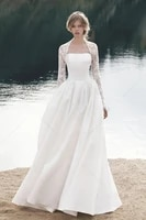 2020 new satin wedding dress with lace jackte 2 pieces a line bridal gown ivory hot sale vestidos de mairee