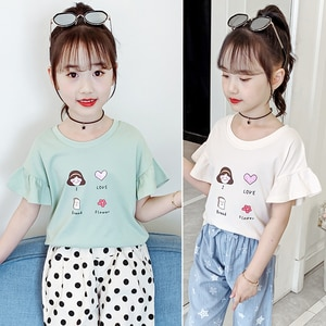 Girls Short Sleeve Shirts Clothes Kids Cotton Summer Tops Shirts Clothing Girls Solid Tees Tops Blouses Children Clothes 4-15T
