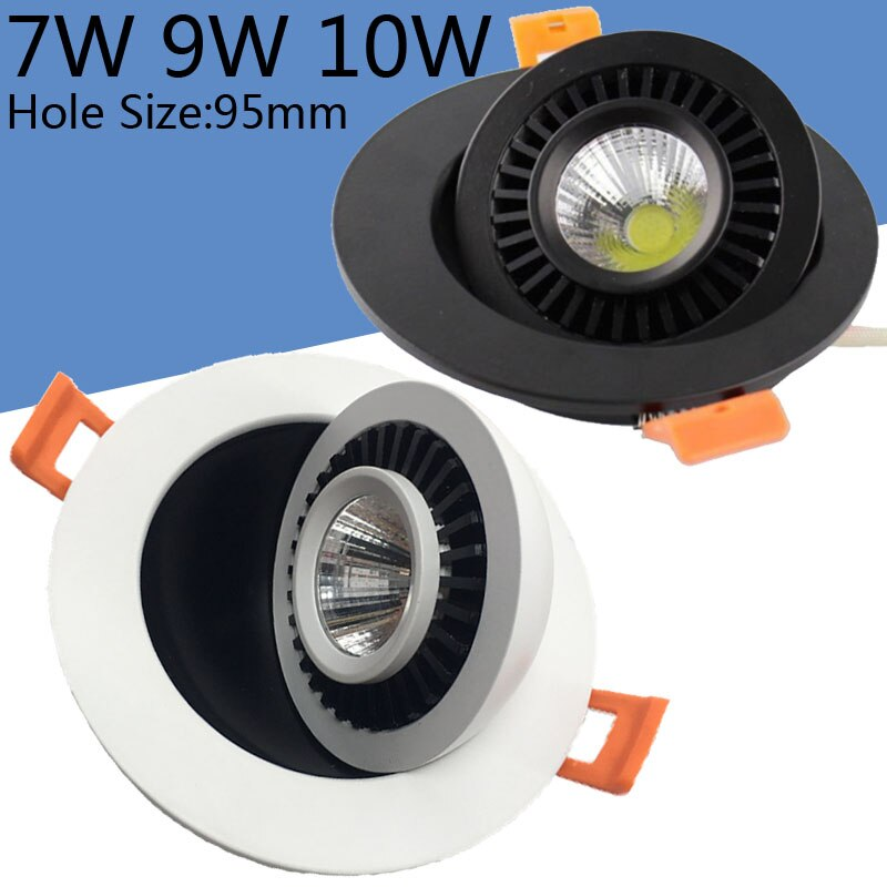 Larga vida regulable COB 7W 9W 10W LED abajo luz CRI>90 AC85-265V Universal todo-redondo 360 grados 3 años de garantía 110lm/W