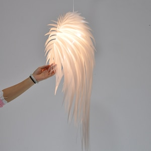Simple white feather shade creative personality living room dining room bedroom bedside angel Pendant Lights WF5161445