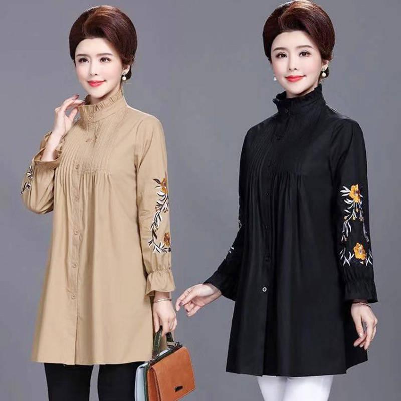 2020 New Fashion Lotus leaf collar single-breasted Embroidery long sleeve jacket Elegant plus-size m