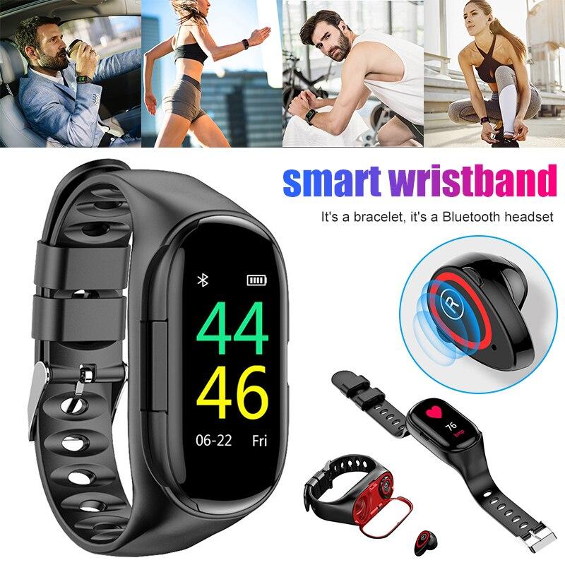 Inteligente com Fones de Ouvido Fone de Ouvido Portátil para o Esporte Relógio Bluetooth Pulseira 2-em-1 Vh99