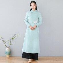 Nuovo arrivato di Modo di Abiti del Vestito di Stile Cinese Dell'annata Del Ricamo sottile della vita delle Donne vestiti