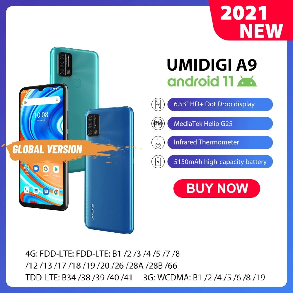 Android 11 UMIDIGI A9 Smartphone 13MP AI Triple Camera Helio G25 Octa Core 6.53