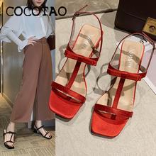 2020 летние новые сказочные сандалии; Женская обувь в римском стиле с пряжкой; Босоножки с бантом на толстом каблуке