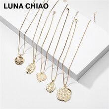 LUNA CHIAO Irregular Shape Relief (Sculpture) Vintage Coin Signs Pendant Necklace for Women