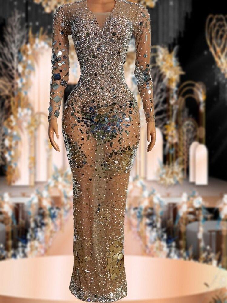 وامض مرآة فضية الأحجار مثير شفاف فستان طويل حفلة عيد ميلاد مساء احتفال شبكة تمتد الرقص قميص طويل الأكمام