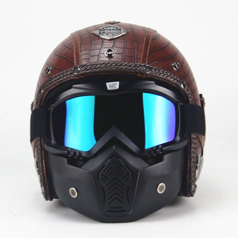 Hombres y Mujeres estaciones casco Retro moda personalidad casco Retro motocicleta Motor coche Universal medio casco
