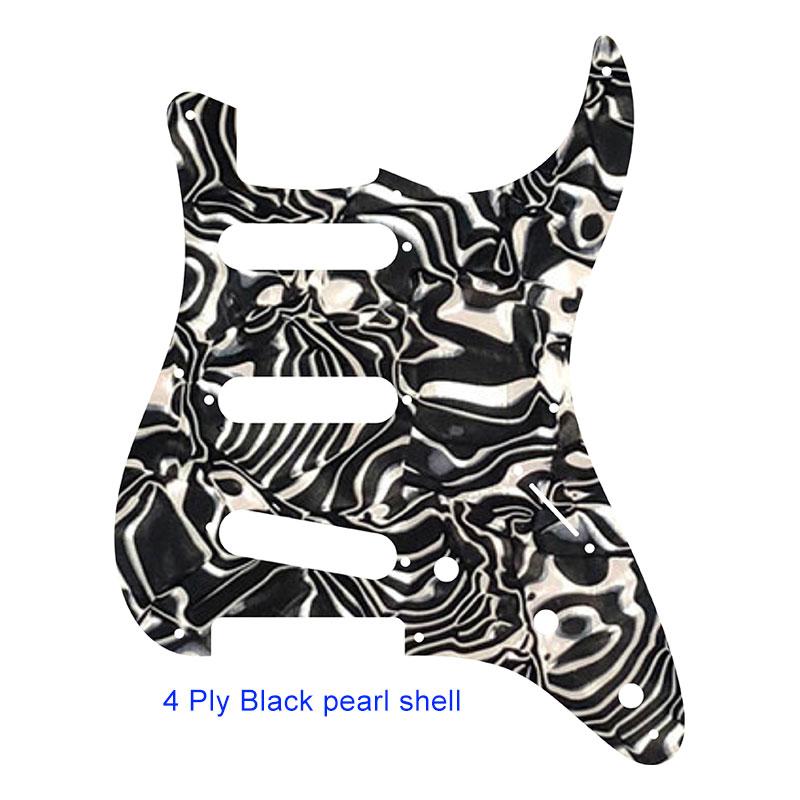 Pleroo guitare personnalisée pickgaurd-pour coquille de perle noire 57 8 trou de vis Standard St SSS guitare pickguard plaque à gratter