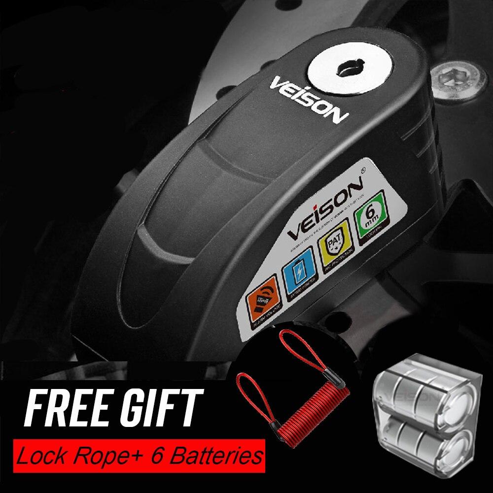 VEISON cierre Alarma motocicleta bicicleta SteelmateWaterproof Bloqueo de disco de advertencia de...