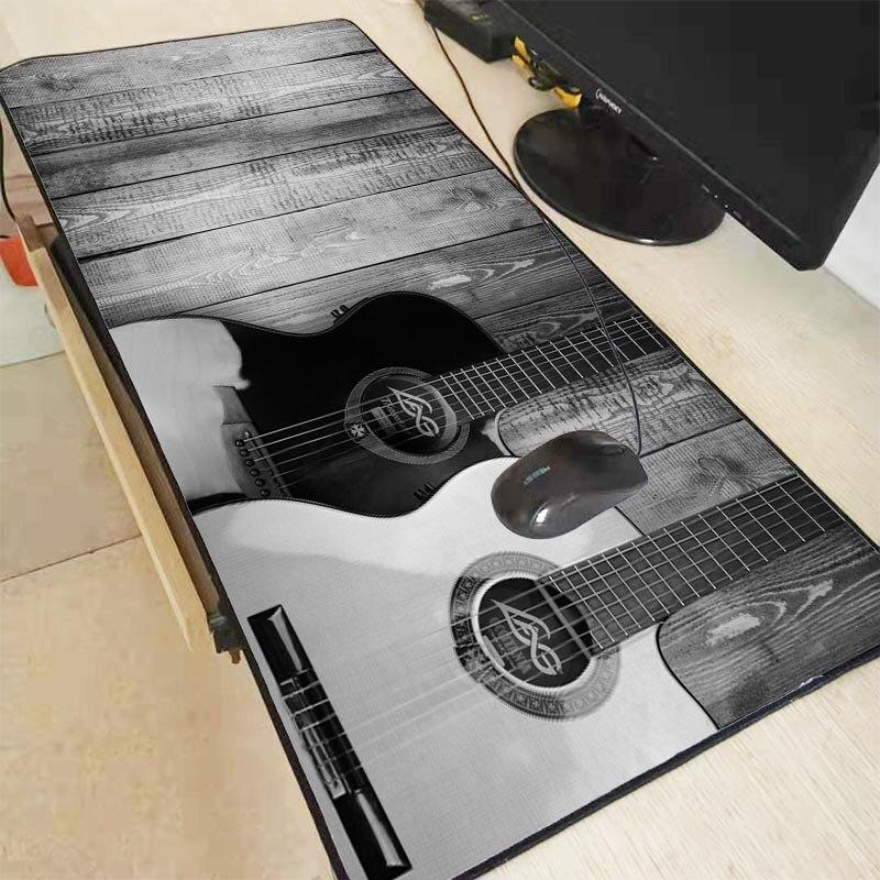 Alfombrilla grande de ratón para juegos de guitarra y música MRGBEST 30X60/40X90CM alfombrilla de bloqueo en los bordes alfombrilla de Anime para ordenador portátil