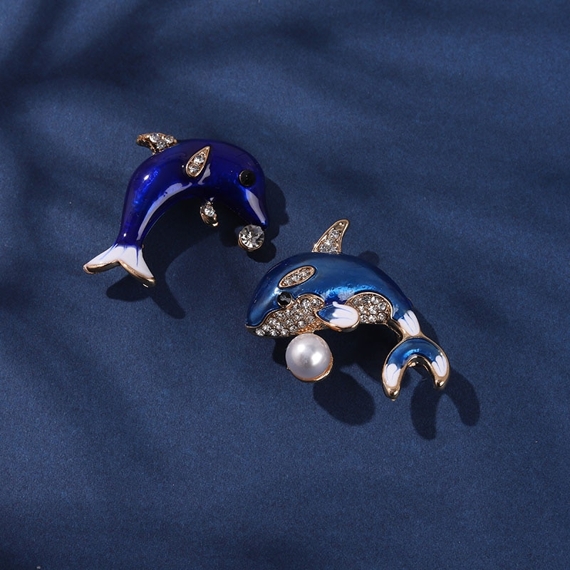 Dolphins Jumping Enamel Pin Blue Pearls Diamonds Brooches Jewelry Decoration Backpack Clothes Badge
