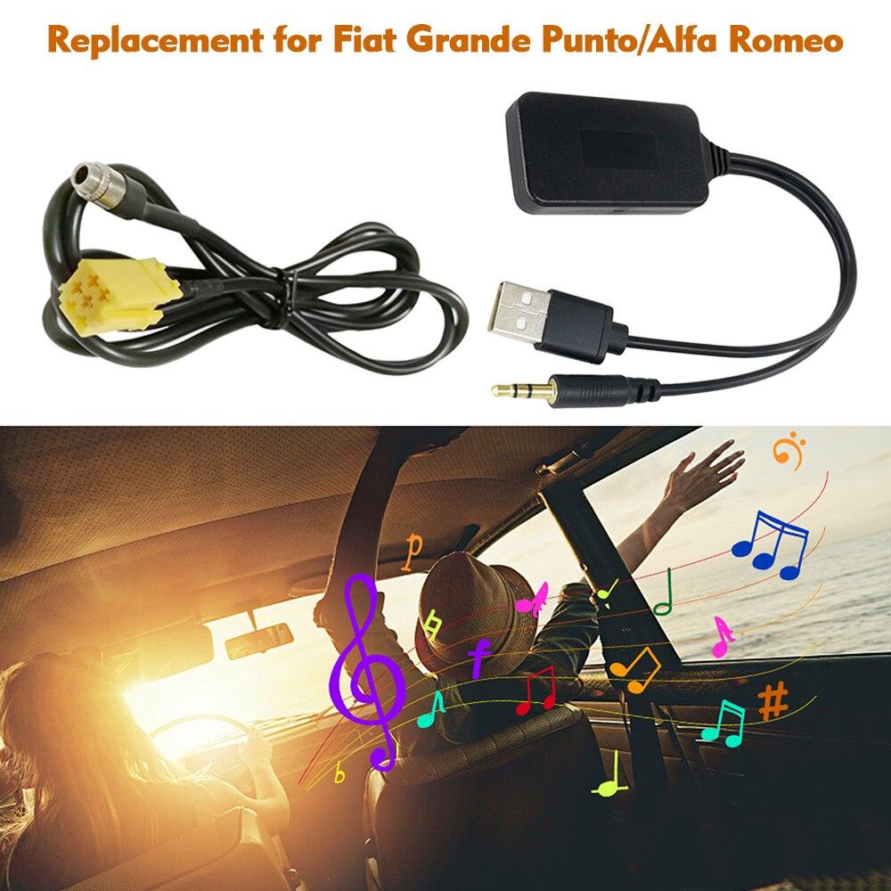 Coche AUX USB adaptador de Radio ISO 6pin AUX Cable de Audio Wireless BT para reemplazo para Fiat Grande Punto Alfa Romeo