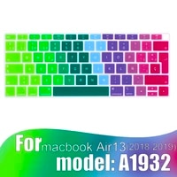 colorful keyboard film for mac book air 13 a1932 2018 2019 touch id spanish silicone keyboard protector cover protective film