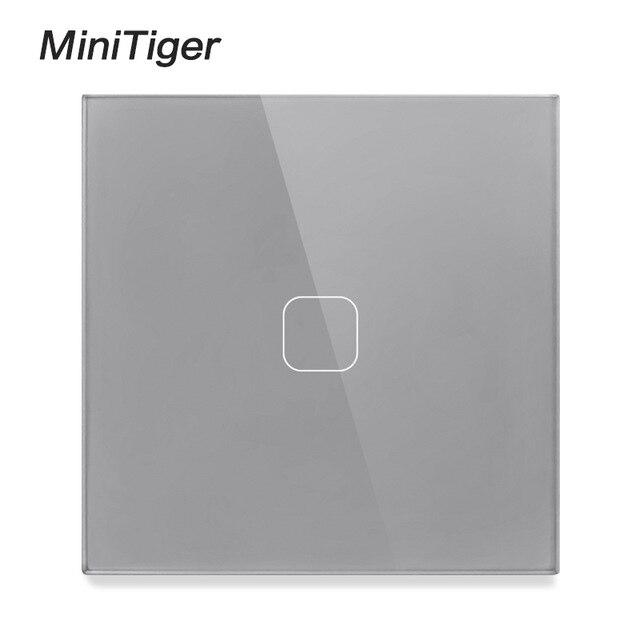 Minitiger EU Interruptor táctil estándar 1 Gang 1 Way luz de pared interruptor de pantalla táctil Panel de cristal con LED