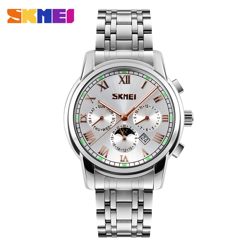 SKMEI 9121 Simple Men Quartz Watch Luxury Full Steel Strap Waterproof Male Wristwatch Clock Calendar Sport Watches reloj hombre wlisth fashion men s watches steel strap watch for men waterproof watches quartz wristwatch date male watch clock for men