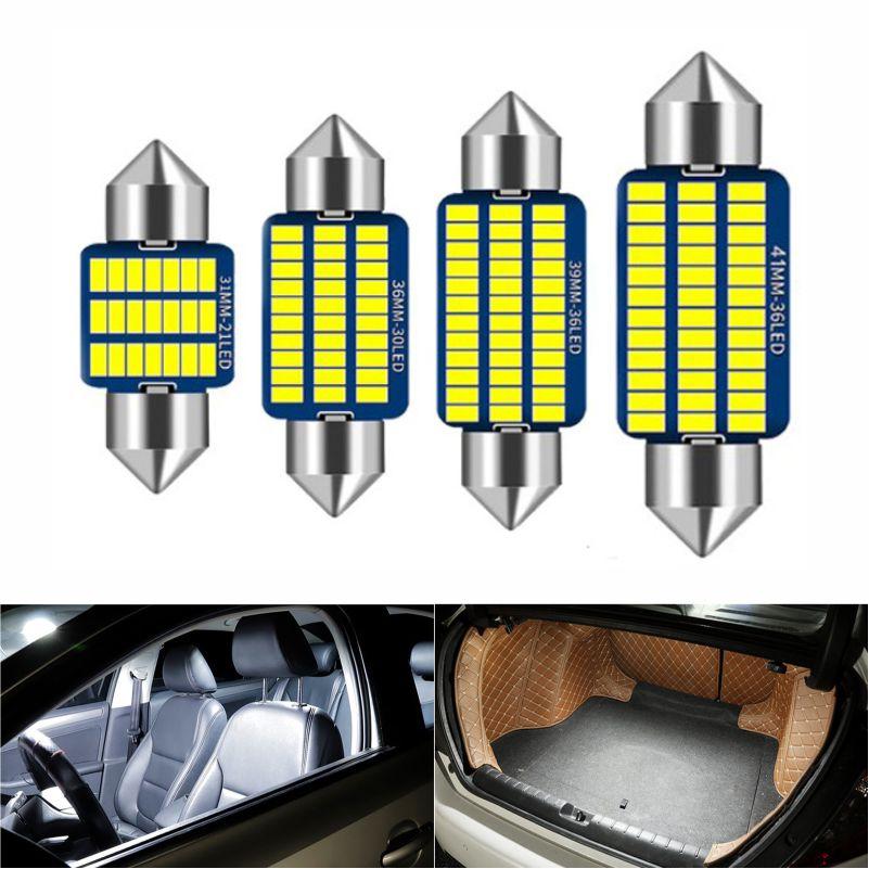 Bombilla LED Canbus para Interior de coche, luces para matrícula 3014 SMD, 31mm, 36mm, 39mm, 41mm, C5W, C10W, sin error, 1 ud.