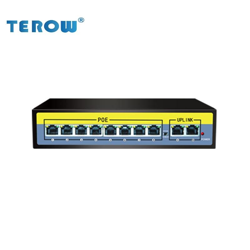 100 м 10-портовый POE коммутатор 250 м передача 8*10/100 м POE порт + 2*100 м iplink порт 52 в 2gbps-полный дуплекс IEEE802.3 AT/ AF