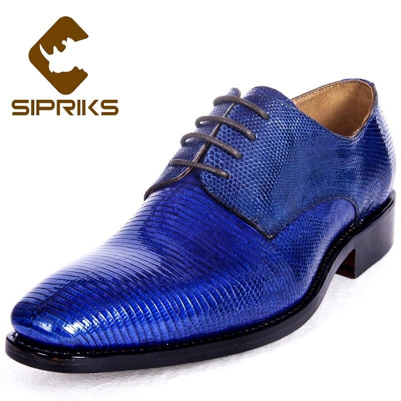 Casuais dos Homens de Luxo Feitos à Mão Sipriks Lagarto Pele Sapatos Azul Escuro Smoking Formal Italianos Goodyear Welted Senhores Terno Social