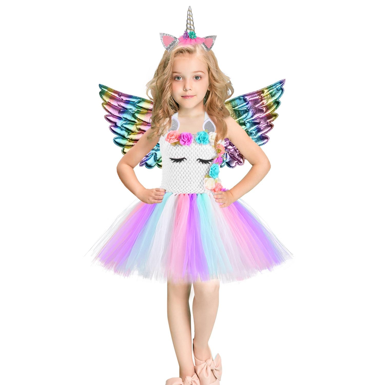 Купить с кэшбэком Christmas Unicorn Dress Sequins Girls Ballet Dance Ball Princess Tutu Dress Birthday Party Gift Halloween Cosplay Costume Wings