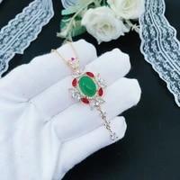 elegant female white red zircon long tassels necklaces emerald jasper stone pendants necklace for women geometry vintage jewelry
