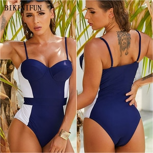 2021 New Push Up Monokini Women Dark Blue Swimsuit Underwire One Piece Suit S-XL Girl Backless Beachwear Tummy Cover Swimwear
