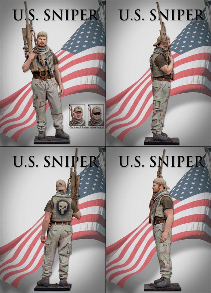 Figuras de Francotirador de los Estados Unidos, modelo moderno 1/16 militar a escala de 90 MM, Escena de modelado sin pintar DIY, montaje de figura estática, Kits de modelos de resina