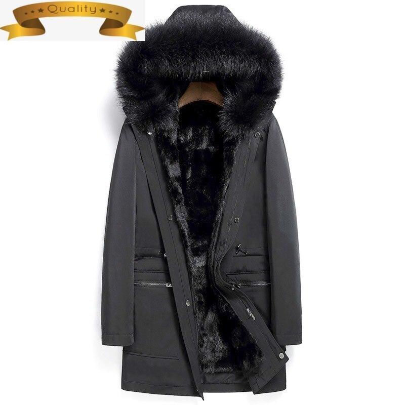 معطف الفرو الحقيقي الشتاء سترة الرجال الطبيعية فرو منك سترة الرجال الثعلب الفراء طوق دافئ سترات حجم كبير 7xl Veste أوم Hiver MY1119