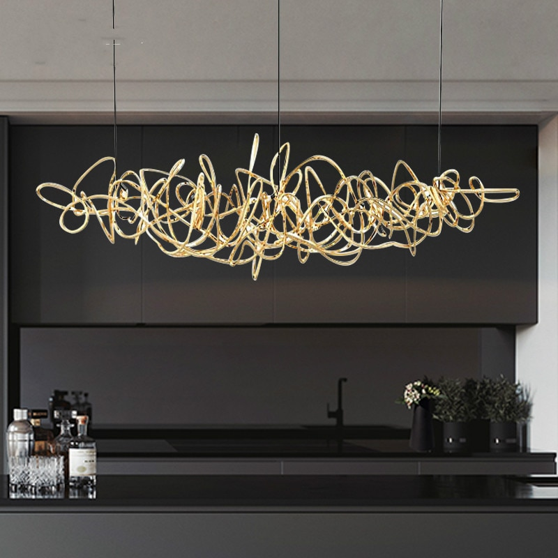 Post-modern light luxury LED restaurant chandelier decoration Nordic front desk lamps simple iron art bar tree chandelier