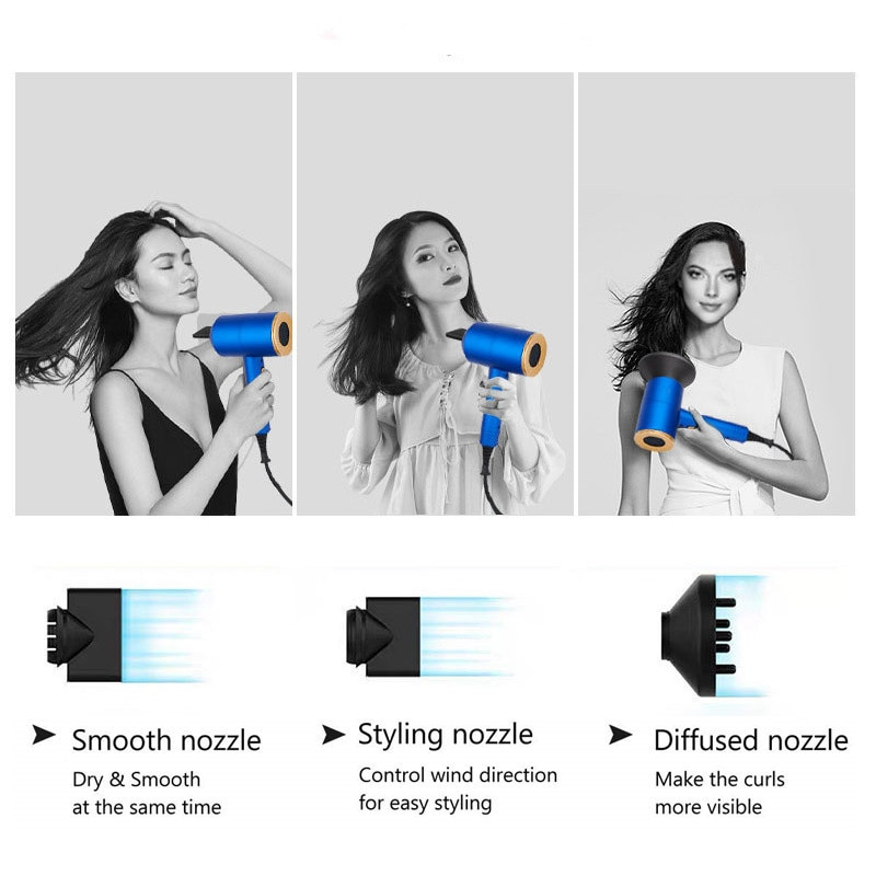 Hair Dryer Blue 2000W Professional High Power Styling Tools Solon Blow Dryer Hot and Cold Wind hair dryer volumizer hammer dryer enlarge