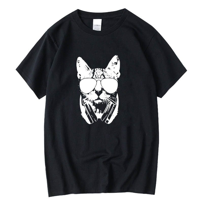 XIN YI Men's t-shirt High quality 100% cotton short sleeve DJ cat print casual loose men tshirt o-neck male t-shirt tees tops high quality french bulldog frenchies printed t shirt for men male dogs animal lovers short sleeve o neck cotton funny t shirt