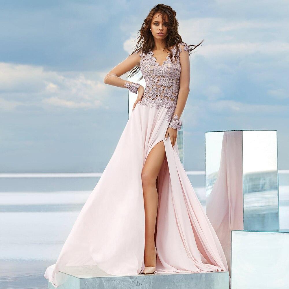 فستان تخرج من الشيفون ، فستان ساحر ، مزين بالزهور ، فتحة جانبية ، أكمام طويلة ، رسن ، خط a