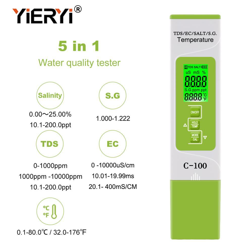 Medidor de temperatura Digital para piscinas, agua potable y acuarios yieryi 5 en 1 TDS/EC/SALT/S.G.