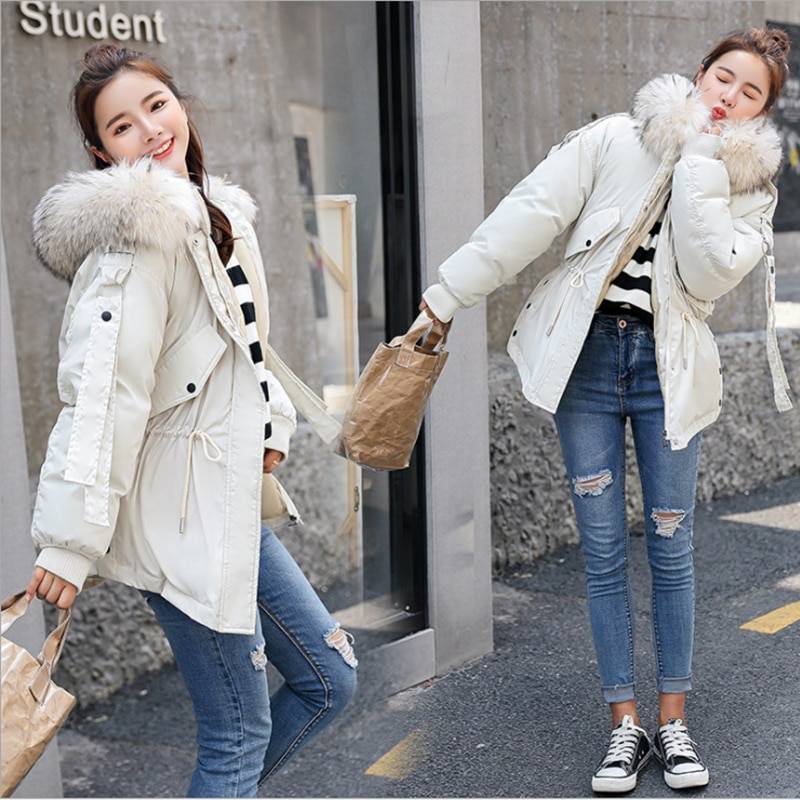 2019 autumn winter new style college breeze girl cotton woman wool collar student fashion coat pure color lovely warm padded