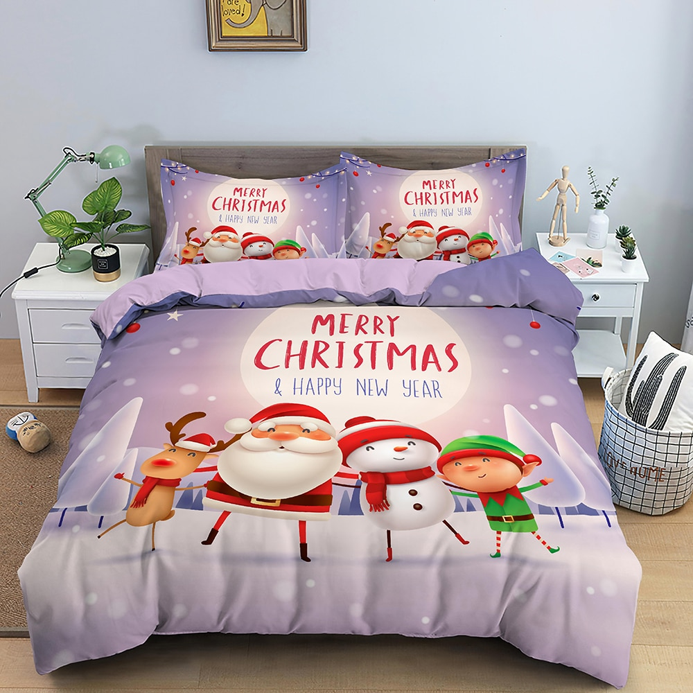 حلم NS سعيد السنة الجديدة طقم سرير غطاء لحاف المخدة مخصصة سانتا مزلقة الغزلان هدايا للأطفال المنسوجات المنزلية