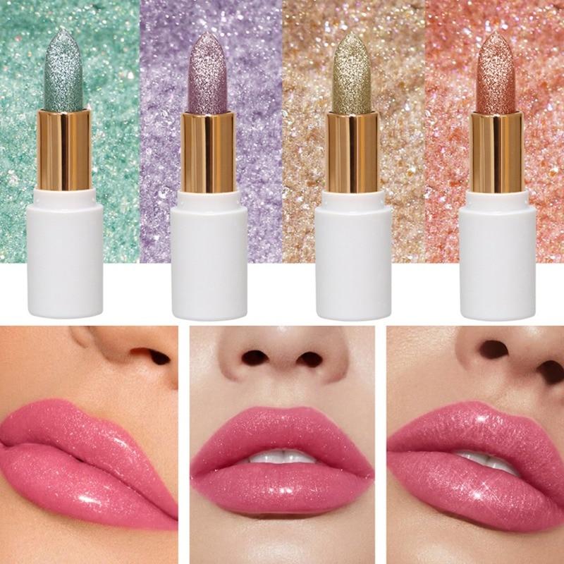 Glitter Lipstick Moisture Lip Balm Natural Lip Tint Temperature Changed Color Lipstick Lasting Waterproof Shimmer Lip Makeup