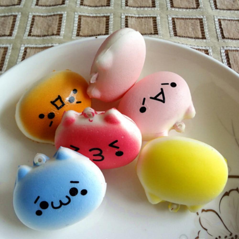 lovely design 1PC Kawaii Squishy Bread Japanese Kaomoji Expression Totoro Phone Straps Kids Gift Toy