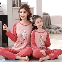 %c2%a0mommy me sleepwear nightwear family cartoon outfits adult girls mother daughter clothes matching women girl pajamas set