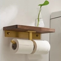 wooden paper towel rack solid toilet tissue paper storage holder punch free bath toilet roll paper rack high quality brass