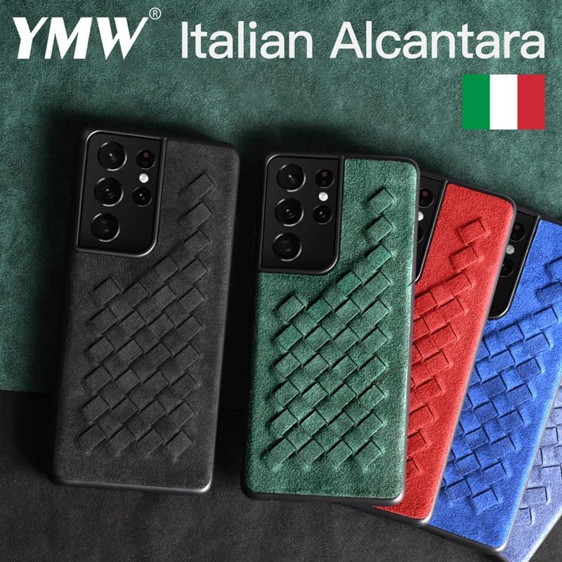 YMW ALCANTARA-جراب هاتف جلدي صناعي فاخر ، جراب لهاتف Samsung Galaxy S21 Ultra S20 S10 S9 S8 Plus Note20 5G
