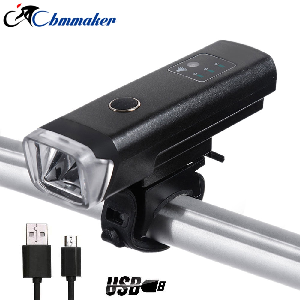 Bike Running lights Bicycle lamp rechargeable usb bicycle light front led bike accessories 350lm USB black lanterns powerful