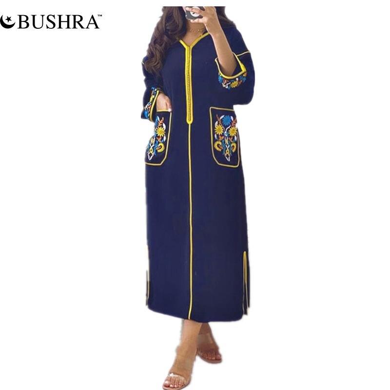 BUSHRA فستان حريمي طويل مطبوع أكمام طويلة بقلنسوة سحاب رداء غير رسمي فام Vestiods يوميا فساتين إسلامية طويلة 2021 جديد