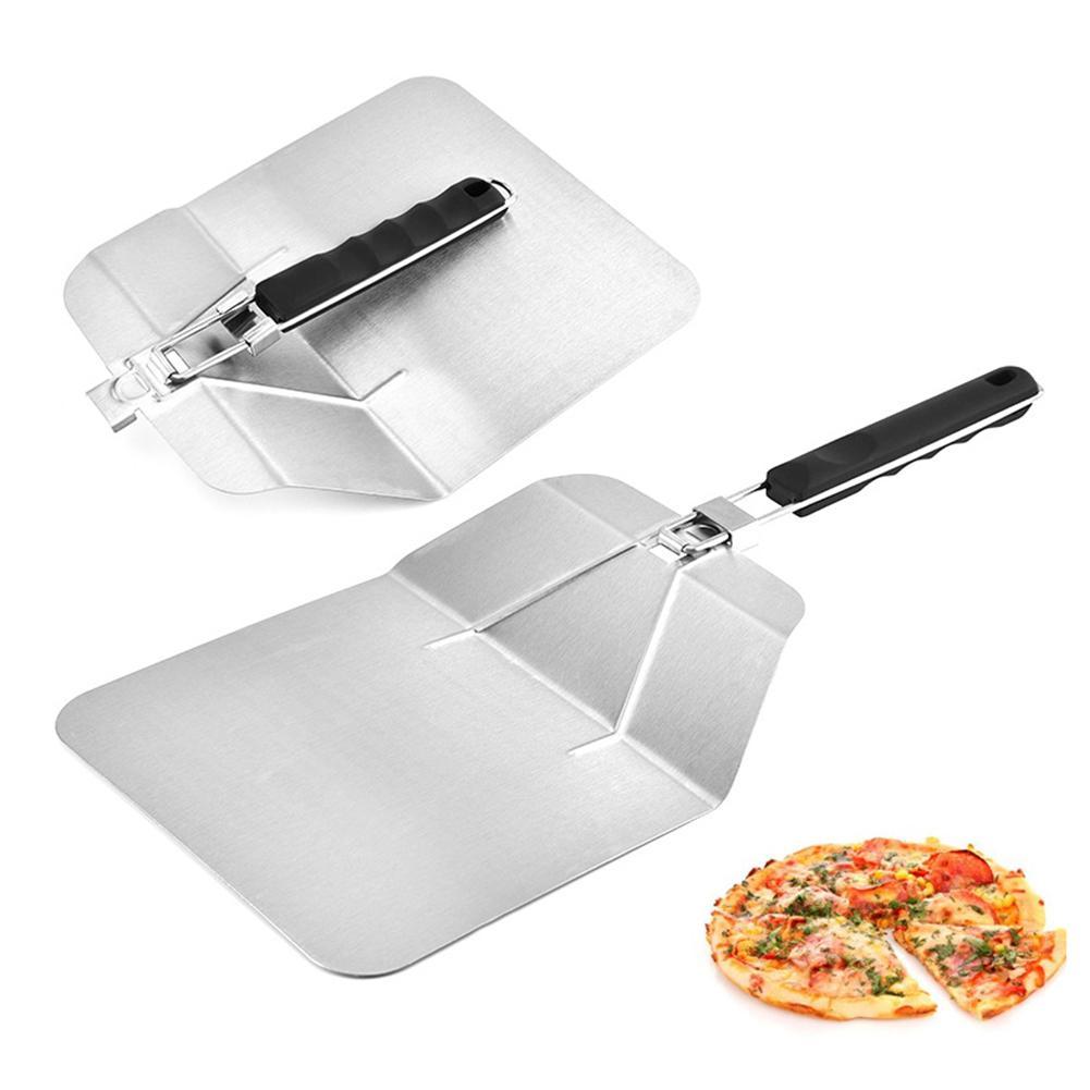 Dobrável de Aço Inoxidável de Pizza Pá Pá Ferramentas de Cozimento Bolo De Transferência de Segurança Pás Quadrado