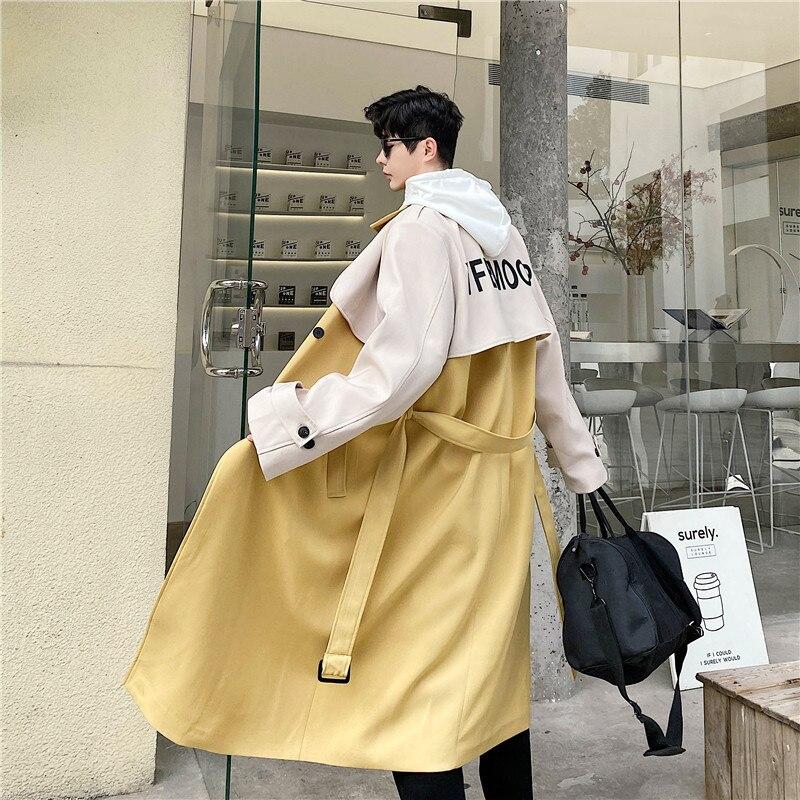 الرجال سترة واقية معطف الربيع والخريف الاتجاه موضة جديدة شخصية اللون تصميم الترفيه حجم كبير معطف طويل