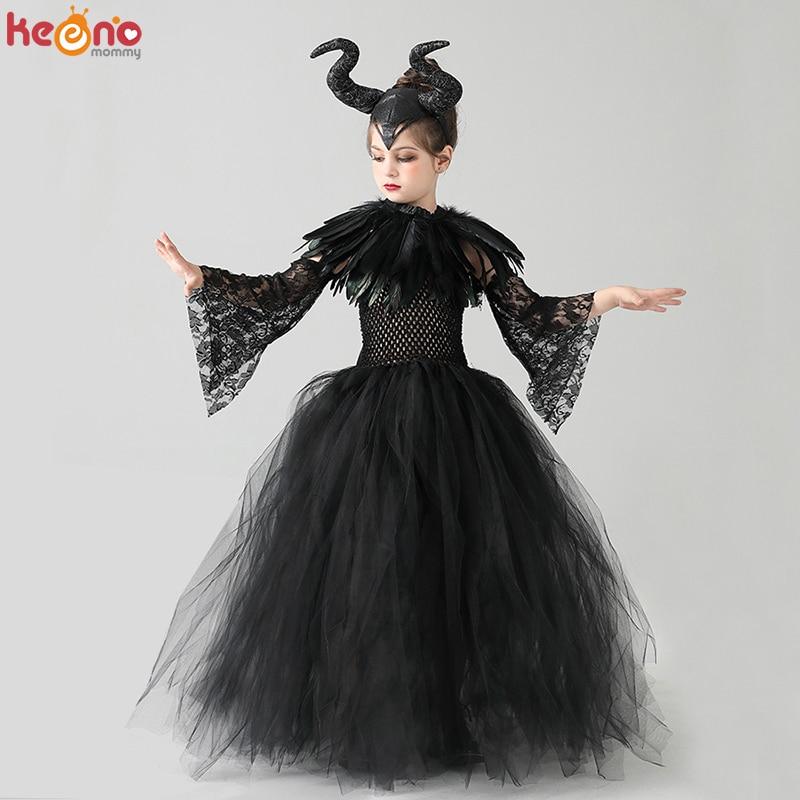 Kids Black Devil Tutu Costume Gothic Halloween Girls Fancy Dress with Feather Shawl Royal Dark Queen Maleficent Gown